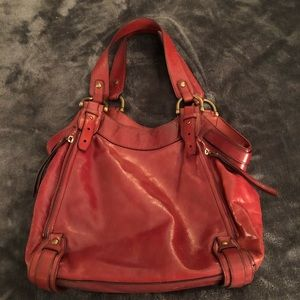 Kooba Hobo Shoulder Bag In Red Leather